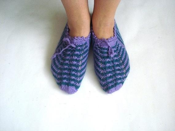 Lila grün stricken Socken, traditionelle türkische Hausschuhe, Damen Hausschuhe, Damen Booties, Kinder stricken Socken, Kinder Hausschuhe, Wohnungen