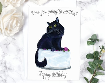 Cat Birthday Card Funny Animal Cute Cake Friend Watercolor Lover