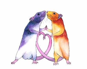 Whimsical Animal Art Cute Animal Art Love Art Print Watercolor Art Print Whimsical Art Print Funny Animal Art Gift For Rat Lover Gift