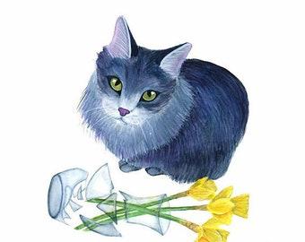 Custom Pet Portrait Watercolor Custom Cat Portrait Custom Cat Painting of cat Pet Memorial Art Custom Pet Portrait Gift For Cat Lover Gift