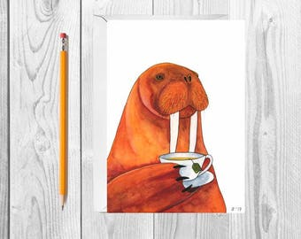 Watercolor Walrus Card Gift For Tea Lover Gift Blank Greeting Card Set With Envelopes Funny Tea Card Funny Greeting Card Just Because