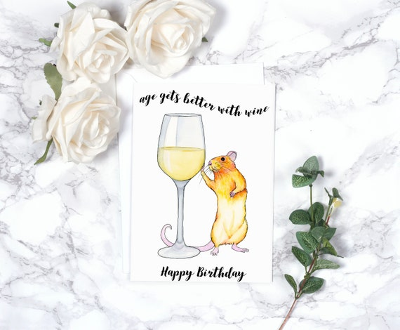 White Wine Birthday Card Alcohol Birthday Card Funny Blank Etsy