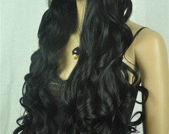 Tabitha // Jet Black Long Curly Full Synthetic Wig