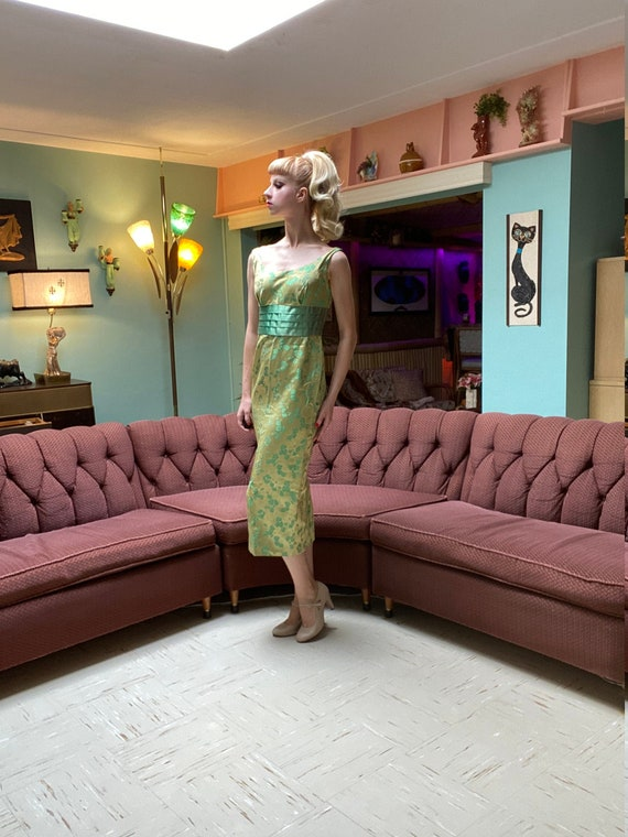 1950's Cocktail Green Dress