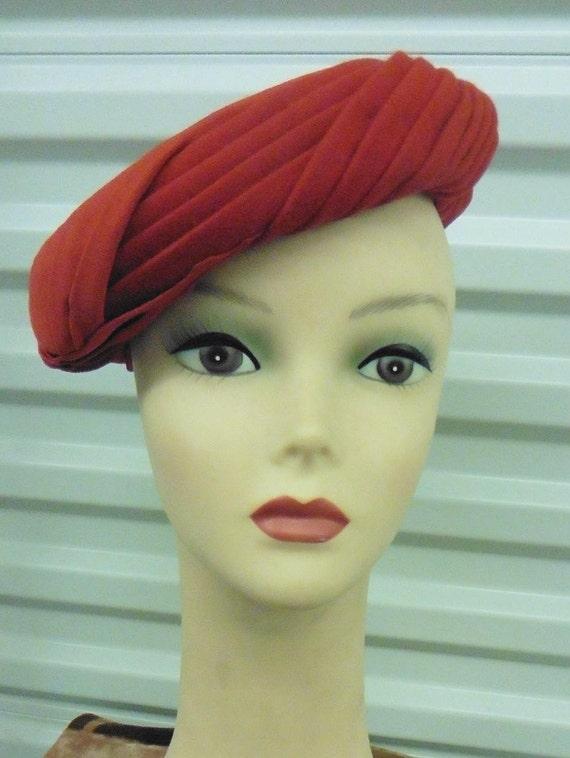40-50s Rust Fur Felt Tam Hat by Ruby Ross NWT