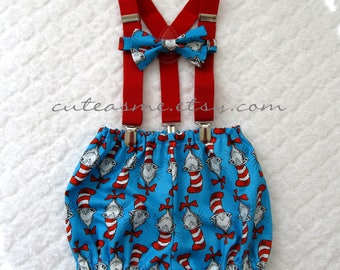 First Birthday Boy Cake Smash Outfit 1 2 Or 3 Piece Diaper Cover Bow Tie Suspenders 1st Cat In The Hat Dr Seuss Photoshoot