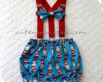 Cake Smash Outfit Boy Girl 1, 2, or 3 piece Diaper Cover Bow Tie Suspenders First Birthday 1st Birthday Cat in the Hat Dr. Seuss Photoshoot1