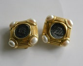 Erwin Pearl Earrings Clip-on Holiday Statement Designer Signed Chunky Gold-tone Pearl Roman Replica Coin 80s Jewely