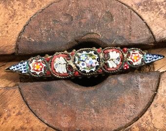 Mosaic Brooch Barpin MicroMosaic VINTAGE Italian Signed