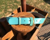 Vintage St John Turquoise Leather Belt with Gold and Enamel Buckle Size 8