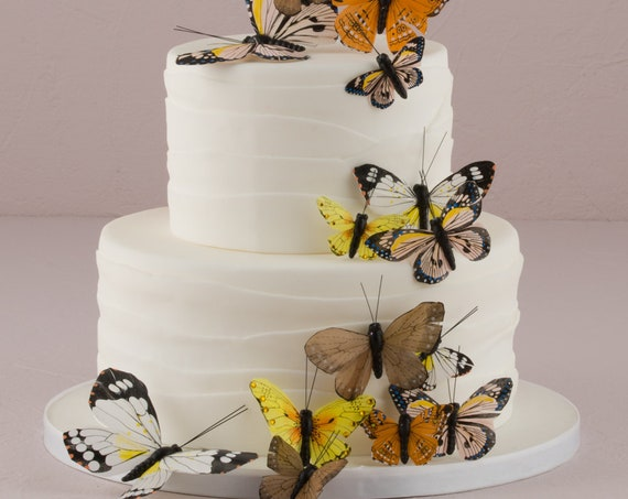 Craft Butterflies, 24 Feather Butterflies, Wedding Cake Butterflies