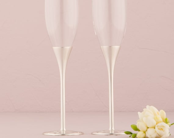 Champagne Ceremony Toasting Flutes, Bride Groom Reception Toasting Ceremony Glasses, Silvertone Champagne Glasses
