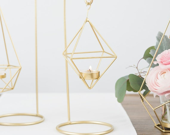 2 Wedding Centerpieces, Gold Geometric Hanging Vases, Wedding Decorations, Wedding Centerpiece Vases, Modern Wedding Vase with Hanger