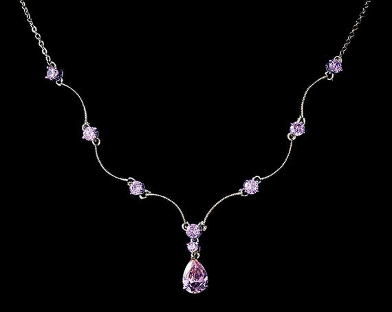 Bridesmaid Necklace, Light Amethyst Cubic Zirconias Necklace, Prom Necklace, Light Purple Necklace