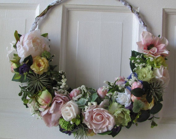 Wedding Decorations, Hoop Wreath,Bridal Hoop, Faux Succulents and Flowers, Wall Decor, Home Deco, Pretty Mixed Hoop Style Wreath