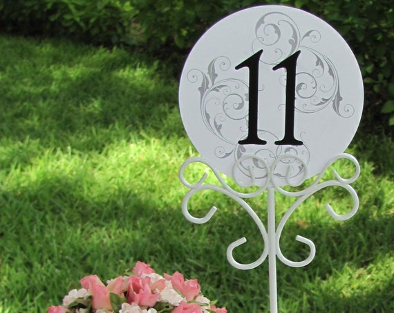 Table Number Holders, White Card Holders, Reception Number Stand, Wedding Sign Holders, White Reception Table Number Holders