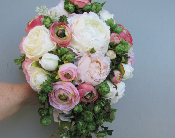 Cascading Bridal Bouquet, Pink Cream Bridal Bouquet, Brides Bouquet, Hops Bridal Bouquet, Unique Bridal Bouquet, Roses, Pink Mixed Bouquet