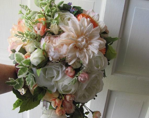 Cascading Bridal Bouquet, Bride's Bouquet, Peach Coral Bridal Bouquet, Garden Style Bridal Bouquet