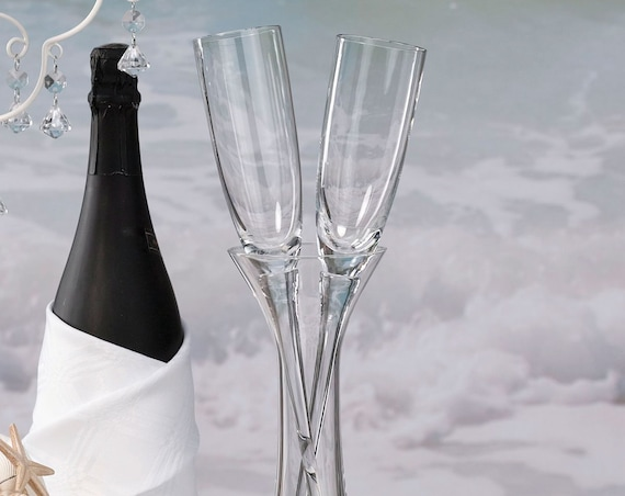 Wedding Reception Tableware, Bride and Groom Glassware, Champagne Toasting Glasses with Vase