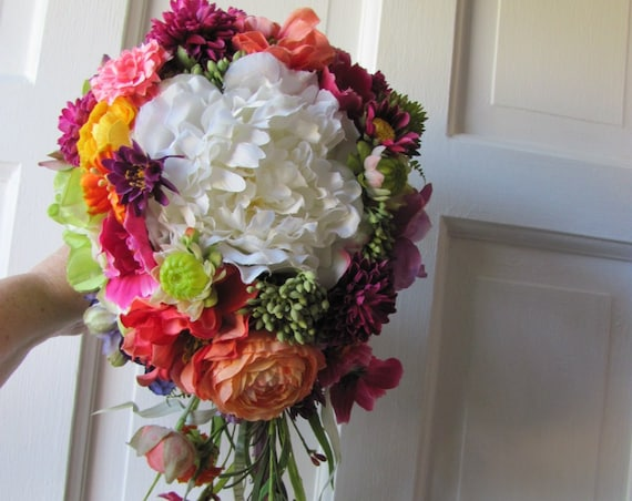 Bridal Bouquet, Wedding Bouquet, Handmade Brides Bouquets, Bold Bridal Bouquet, Cascading Bridal Bouquet, Mixed Garden Bridal Bouquet