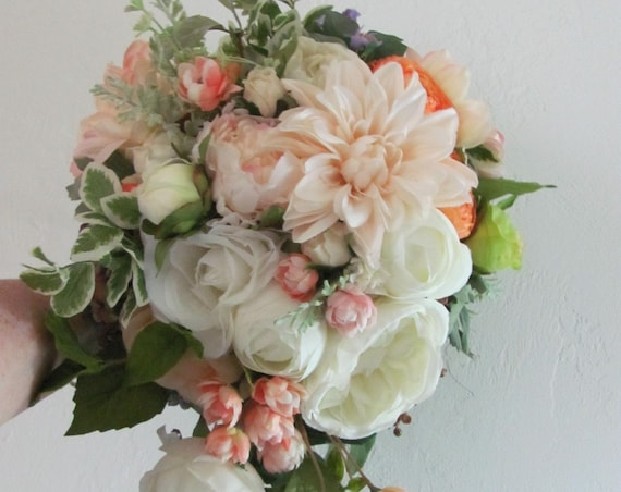 Bridal Bouquet, Bride's Bouquet, Silk Bouquet, Peach Coral Bouquet, Garden Style Bridal Bouquet, Custom Wedding Bouquets,Cascading Flowers