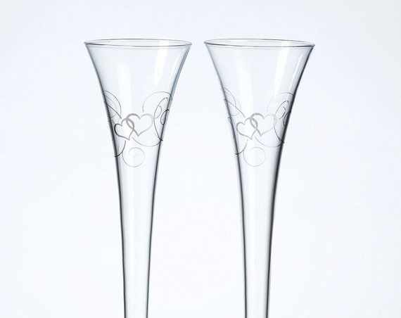 2 Reception Flutes Wedding Toasting Ceremony, Toasting Glasses for Bride and Groom, Scroll Heart Design Toasting Flutes