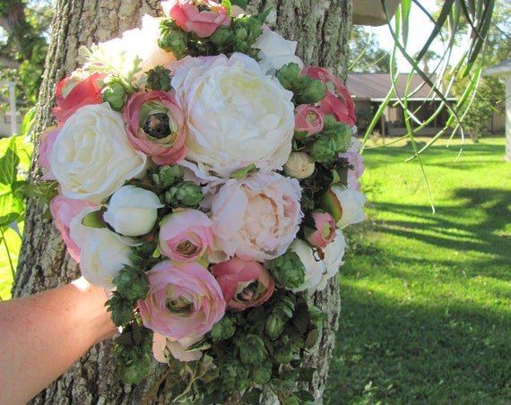 Cascading Bridal Bouquet, Pink Bridal Bouquet, Brides Bouquet, Handmade Bridal Bouquet, Unique Bridal Bouquet, Roses, Pink Mixed Bouquet