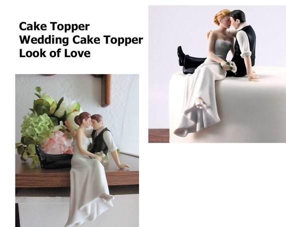 Look of Love Wedding Cake Topper, Wedding Cake Topper,Bride Groom Cake Figurines, Porcelain Wedding Cake Top, Bride and Groom Cake Topper