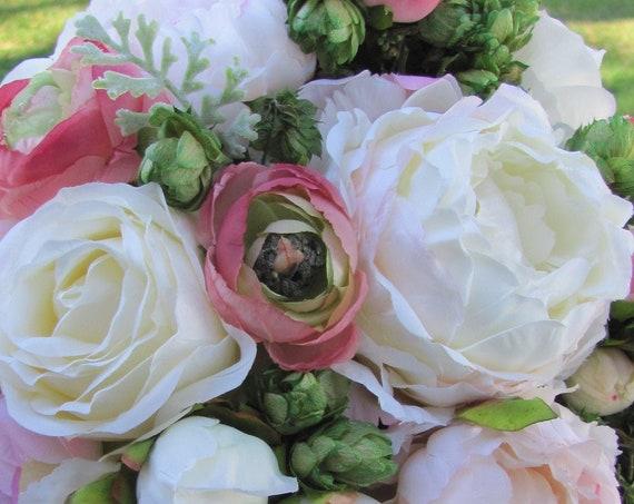 Cascading Bridal Bouquet, Pink Bridal Bouquet, Brides Bouquet, Handmade Bridal Bouquet, Unique Bridal Bouquet, Roses, Pink Mixed Bouquet