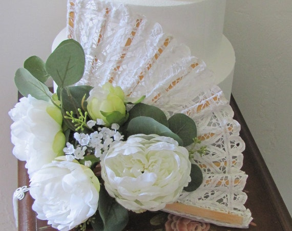 Wedding Cake Table Decorations, Hand Held Bridal Bouquet Fan, Bridal Shower Decorations, Wedding Flower Fans, Lace Fans with Flowers