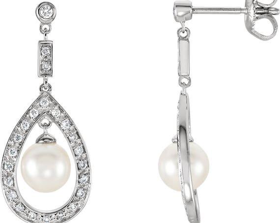 Bridal Earrings, Pearl Earrings, 14K White Freshwater Cultured Pearl and Diamond Earrings
