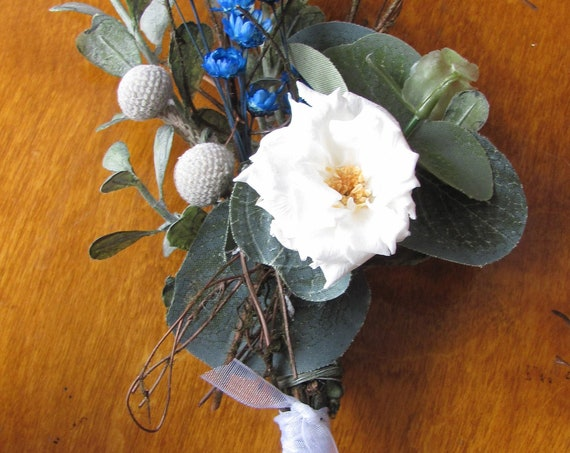 Boutonniere, Lapel Flowers, Wedding Boutonniere, Prom Boutonniere, Floral Boutonniere, Preserved Rose,Star Flowers,Silver Brunia, Eucalyptus