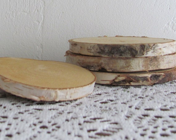 Birch Wood Rounds, 10 Wood Slices, 4 Inch Wood Slices, Craft Wood Rounds, Wood Coaster Size Slices, Craft Supplies, Wedding Supplies