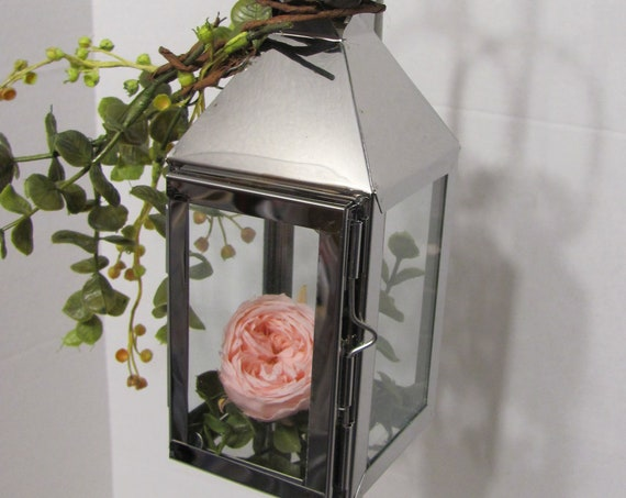 Wedding Decorations, Wedding Floral Lanterns, Floral Container, Pink Rose Eucalyptus Hanging Lantern, Centerpiece Lanterns