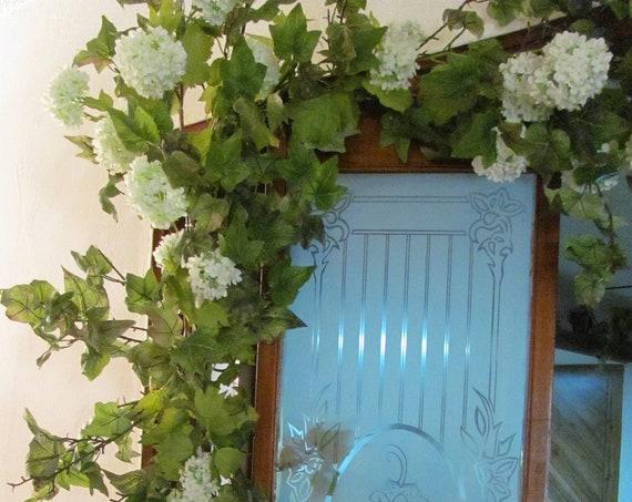 Wedding Decorations, Wedding Garland, Centerpiece Garlands, Ivy with Snowball Flower Decor, Reception Table Garland