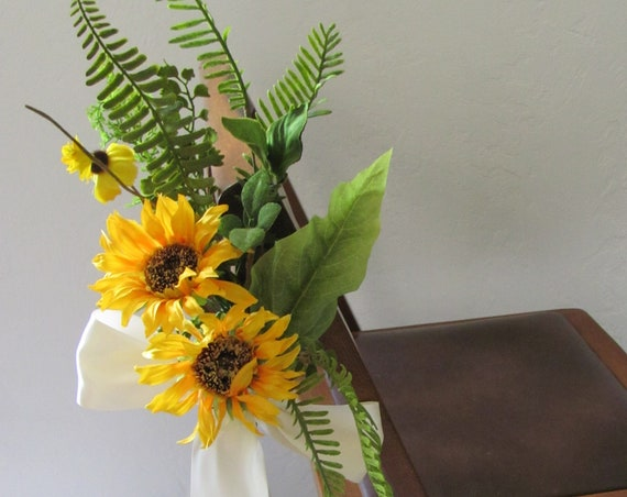 Wedding Decorations, Sunflower Wedding Flowers,  Ceremony Flowers,  Aisle Flowers, Wedding Chair Flowers, Wedding Aisle Chair Flowers