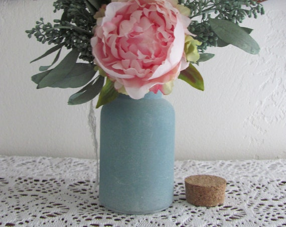 Wedding Vase Frosted Sea Blue Bottle With Cork Stopper, Bottle Vase, Sea Blue Bottle Vases, Ocean Party Vases