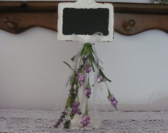 Chalkboard Reception Table Stand with Handmade Floral Decoration, Wedding Event Stands, Purple Flowers on Wedding Sign Stand, Wedding Signs