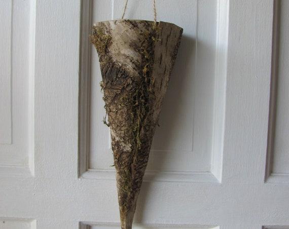 Woodland Wedding Flower Cones, 2 Hanging Cones, Wedding Flower Holders, Wedding Aisle Decorations, Birch Bark Cones