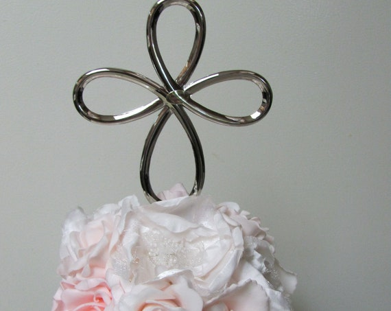 First Communion Cake Topper, Baptism Cake Top, Pink and White Flowers with Silver Cross Cake Decoration