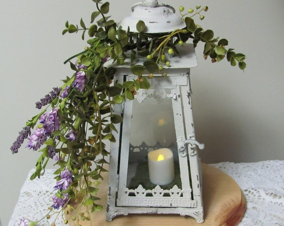Wedding Centerpiece, Party Centerpieces, Eucalyptus and Lavender Vine Floral Lantern Centerpiece,Distressed Metal Lanterns, Fairy Tale