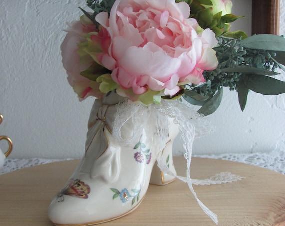 Bridal Shower Cake Topper,  Shoe Cake Topper Vase, Pink Peonies Eucalyptus Bouquet in Porcelain Shoe Vase