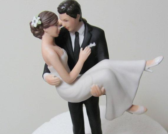 Bride and Groom Cake Top, Groom Holding Bride Cake Topper