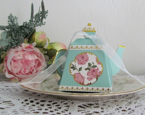 Teapot Favor Boxes, 24 Party Favor Boxes, Tea Party Goodie Boxes, Treat Boxes, Ladies Luncheon Boxes