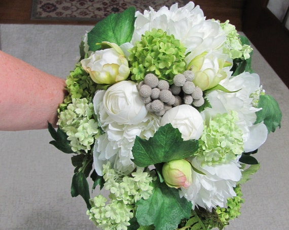 Peony Bridal Bouquet, Wedding Bouquet for Bride,  Cascading Bridal Bouquet, Peonies, Snowball Flowers, One of a Kind Bridal Bouquet