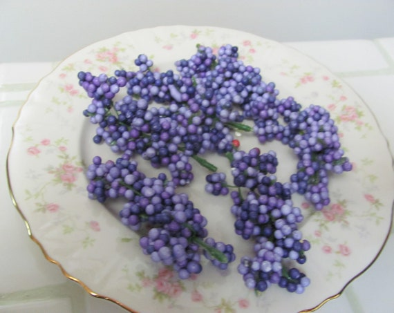 Craft Berries, Foam Berries, Purple Berry Clusters, Wreath Embellishments, Hair Crafts, Floral Crafts, Spring Floral Embellishments
