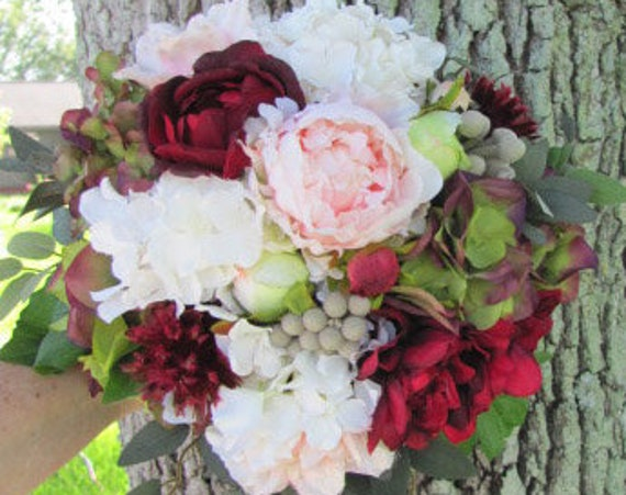 Brides Bouquet, Cascading Bouquet, Bridal Bouquet, Silk Bridal Bouquets, Destination Wedding Bouquet, Burgundy Bridal Bouquet