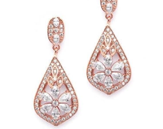 Wedding Bridal Earrings, Enchanting Art Deco Earrings, Mariell Jewelry, Sophisticated Rose Gold Art Deco CZ Wedding Earrings
