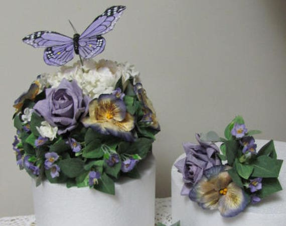 Wedding Cake Decorations, Purple  Wedding Cake Top Flowers, Wedding Cake Topper, Wedding Cake Topper, Pansies, Roses, Violets and Butterfly