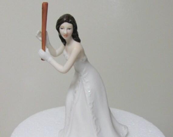 Bride  Baseball Wedding Cake Topper - Hit A Home Run, Baseball Wedding Theme Cake Top